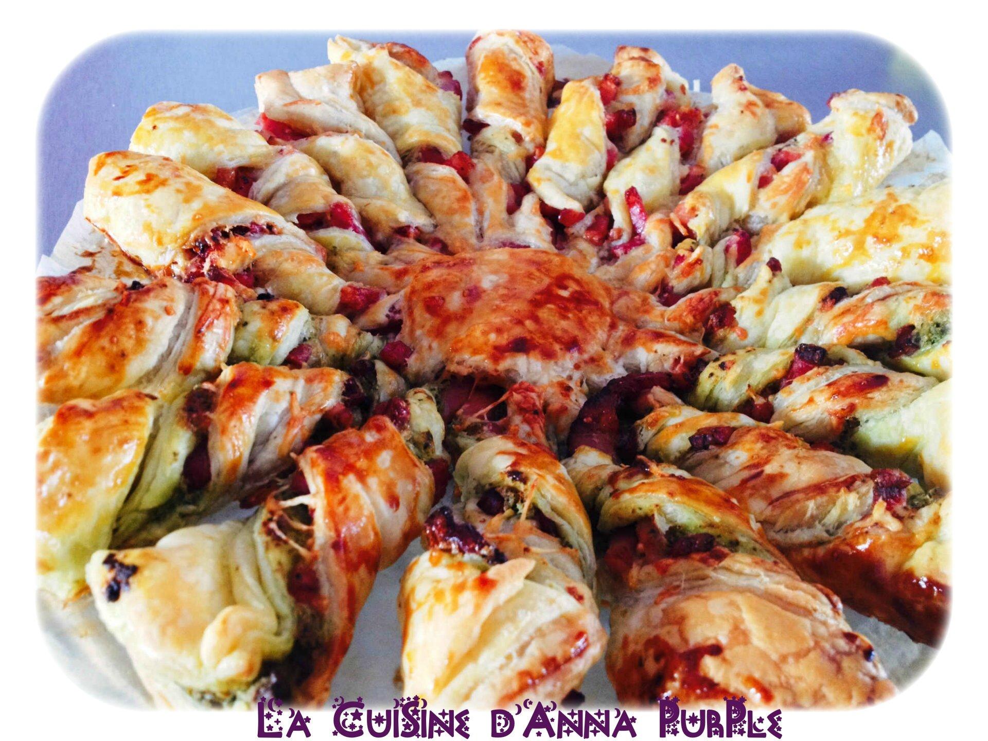 tarte torsadée pesto lardons et fromage - LA CUISINE DANNA PURPLE (2)
