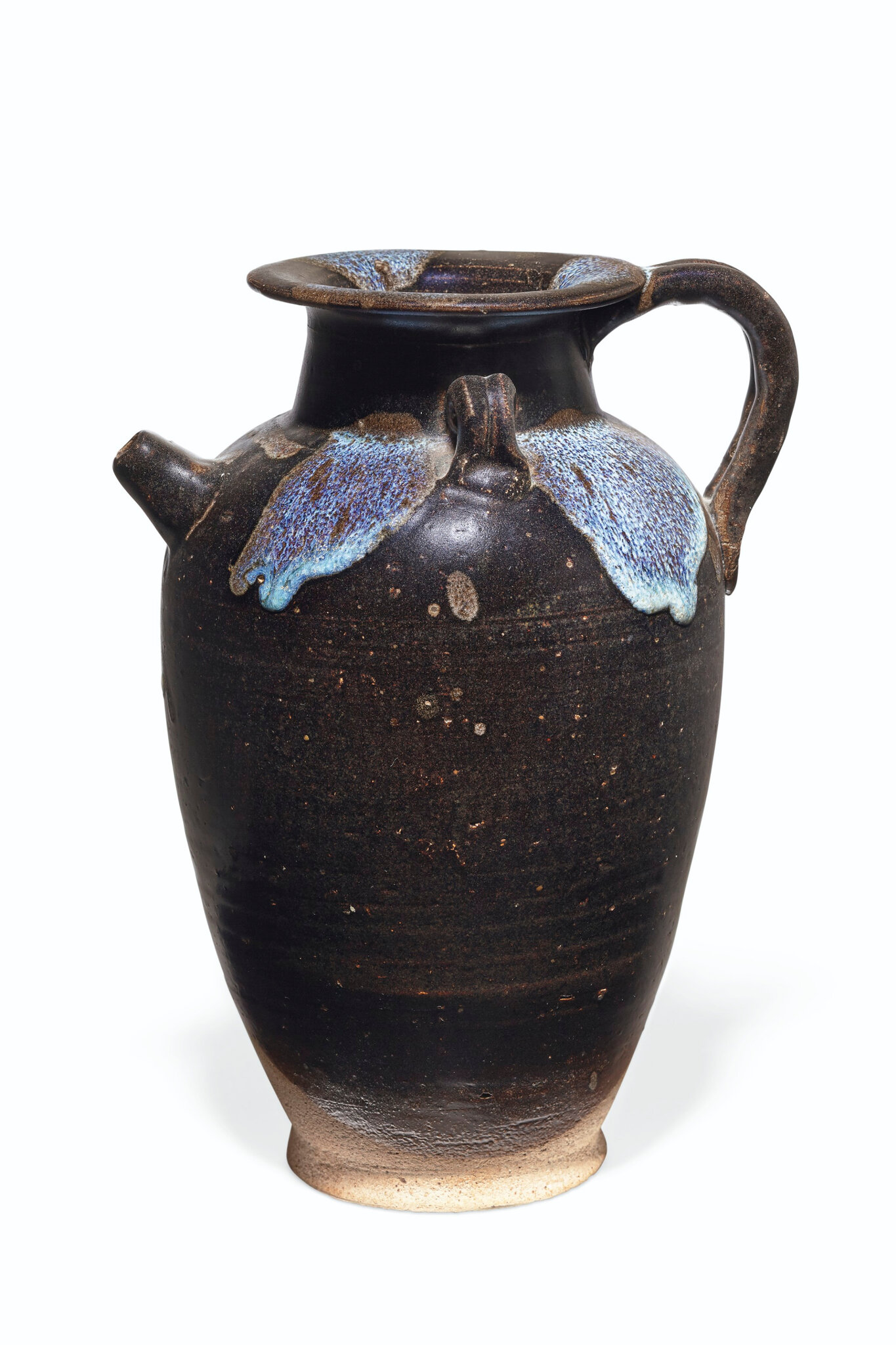 A splash-decorated brown-glazed ewer, Tang dynasty (618-907)