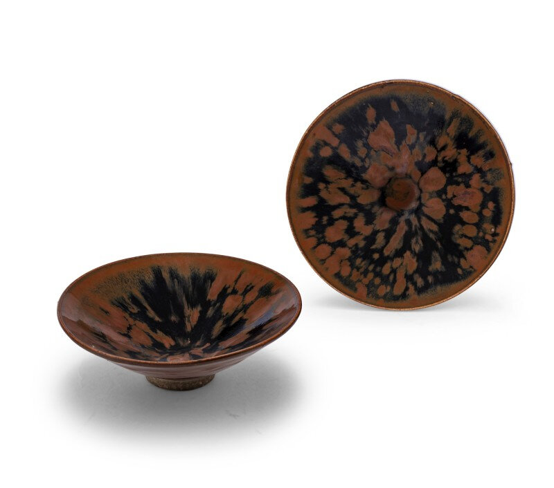 Two Cizhou 'partridge feather' russet-splashed black glazed bowls, Northern Song-Jin Dynasty