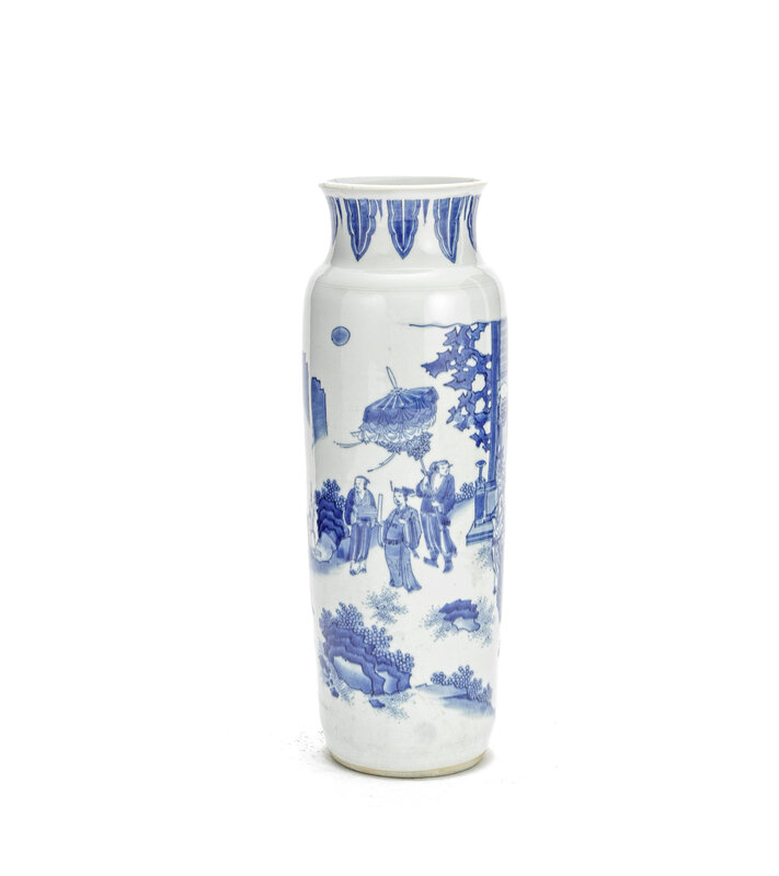 A blue and white 'Pointing to the rising Sun' sleeve vase, Chongzhen period (1627-1644)
