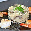 Risotto aux champignons, st jacques et grosses crevettes poélées, pour un repas qui en jette