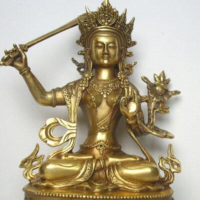 Tib-tain-Bouddhisme-Tantra-en-laiton-bouddha-statue-Manjushri-Bodhisattva-Manjushri-confiture-dpel-figure-hauteur-environ