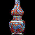An iron-red ground, green and blue and white porcelain double-gourde vase, china, ming dynasty, 16th century