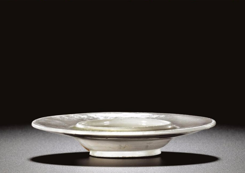 A white stone ware cup stand, Tang-Five Dynasties