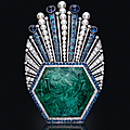 An art deco carved emerald, sapphire, diamond and pearl aigrette, paul iribe for robert linzeler