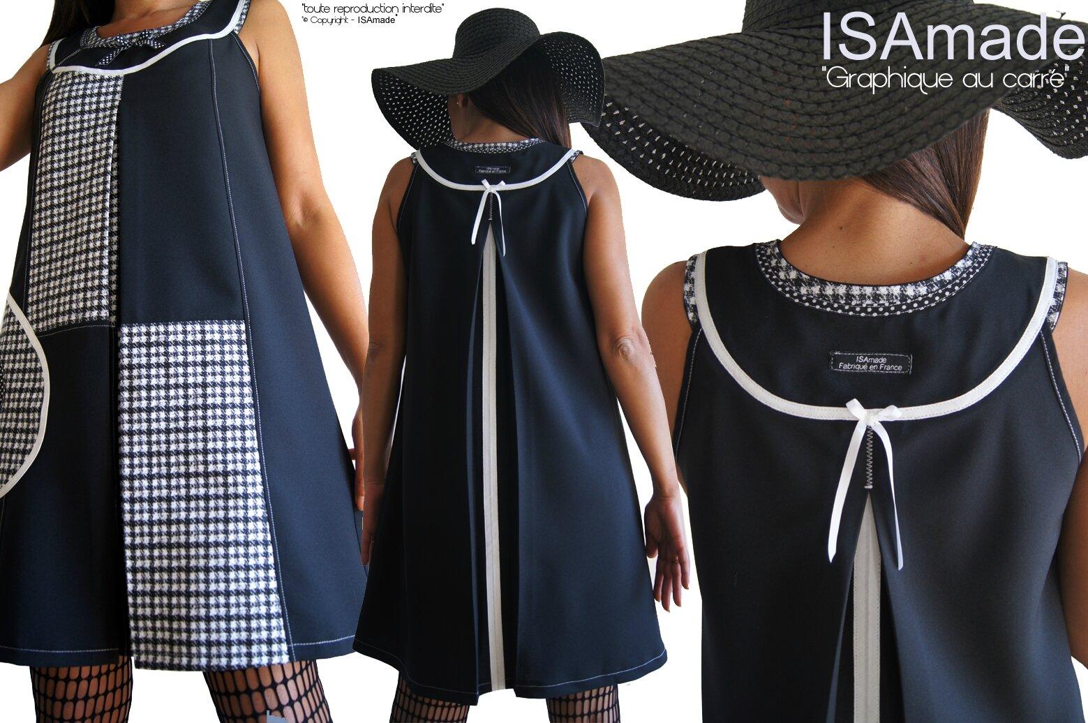 Robe noire et Blanche mode 2015 aux découpes Graphiques et Imprimé tissé Optique