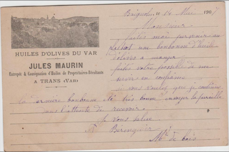 Huiles d'olives-Jules Maurin 14 mai 1907