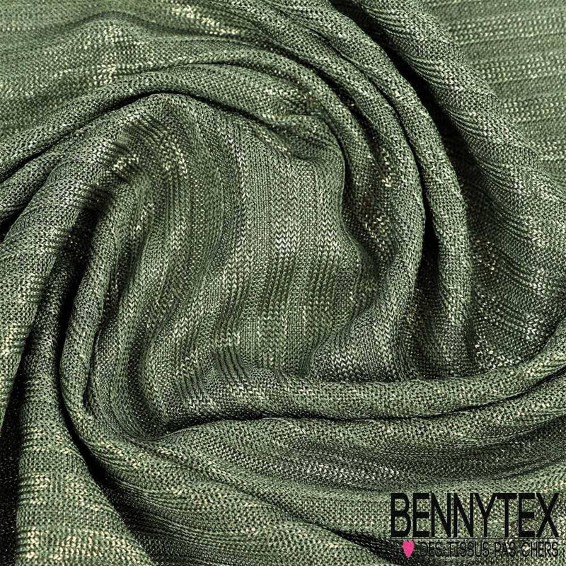 maille-polyester-tissage-rayure-glace-paillette-fond-vert-poireau
