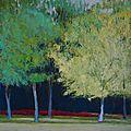 Arbres bleus parc de la garenne pastel à l'huile, 40 x 40 cm
