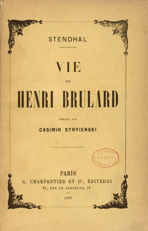 Vie de Henry Brulard, édition Stryienski, 1890
