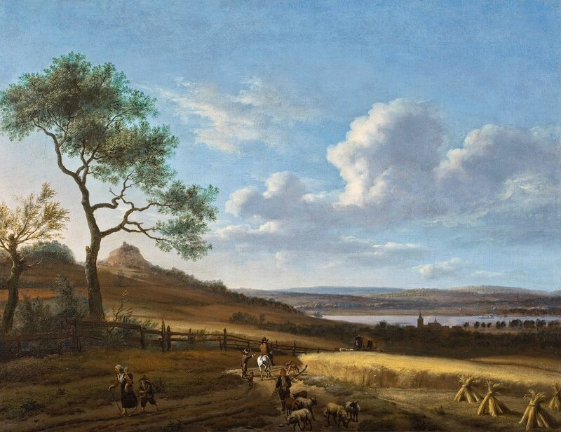 Panoramic summer landscape with a horseman and a post wagon