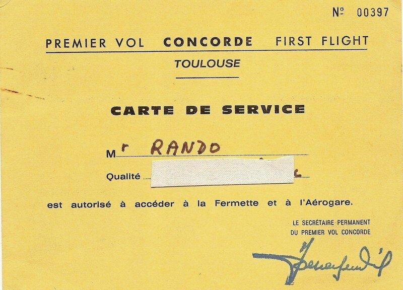 Premier vol concorde-carte de service