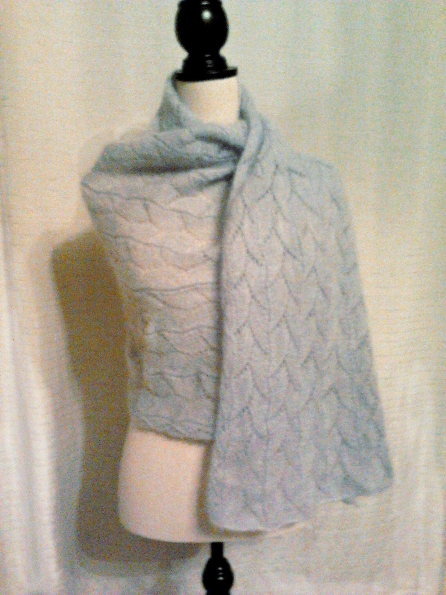 Etole en laine mohair et soie couleur gris-vert - Une tricoteuse du Ried 613145518b9