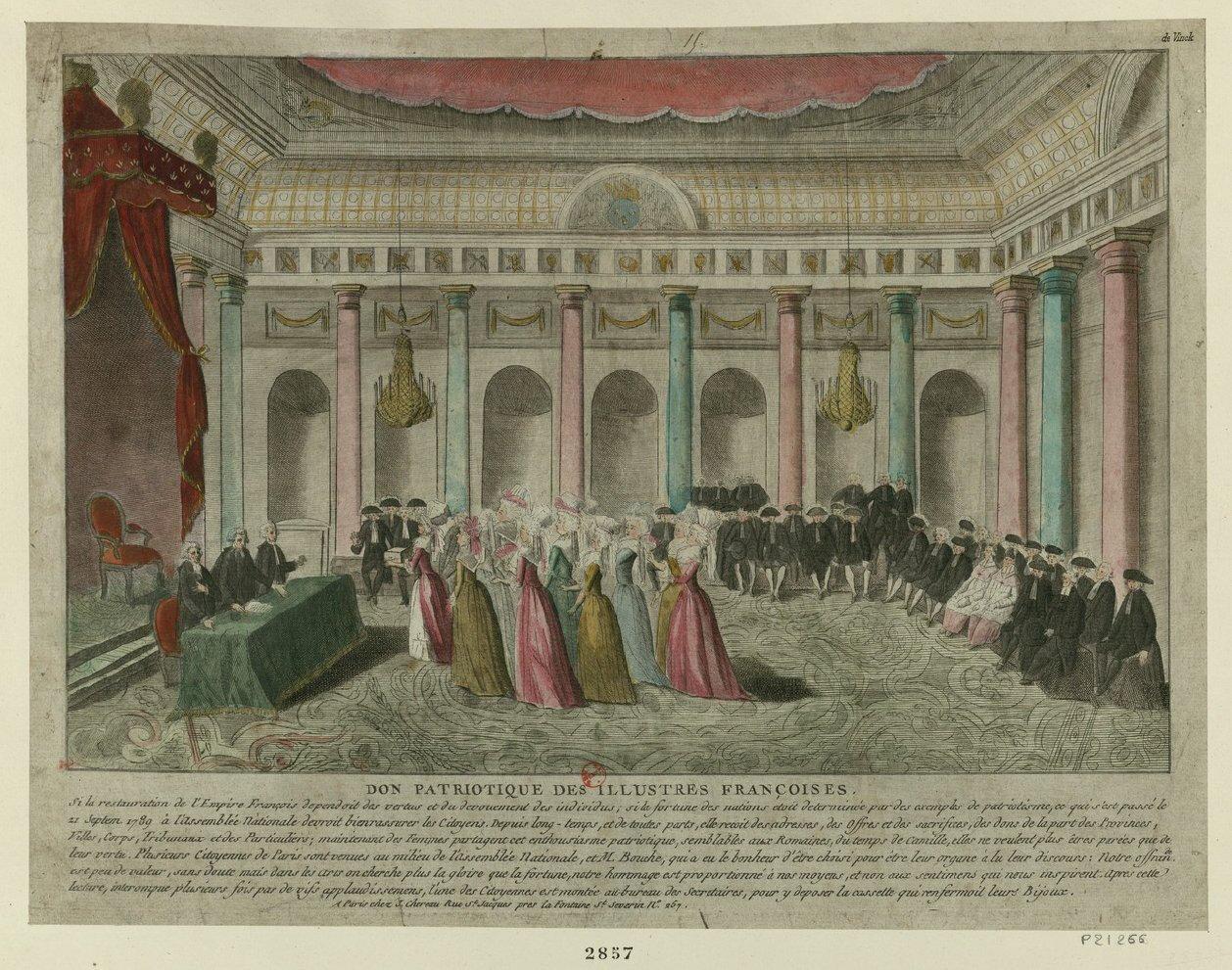 Le 9 janvier 1790 à Mamers : don patriotique de bijoux.