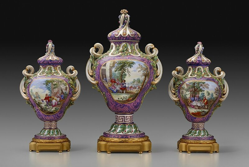 Sèvres Porcelain Manufactory (French), Three Potpourris Vases, ca
