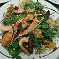 Salade de queues de langoustine, chips de topinambour, mini chor