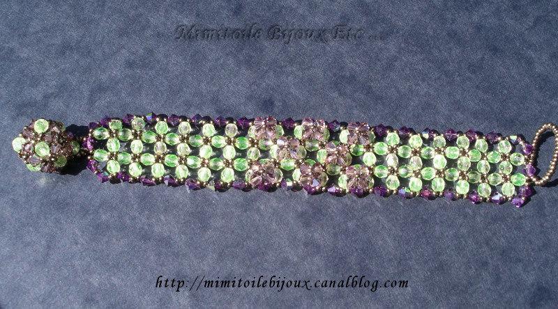 Bracelet japonais vert et violet