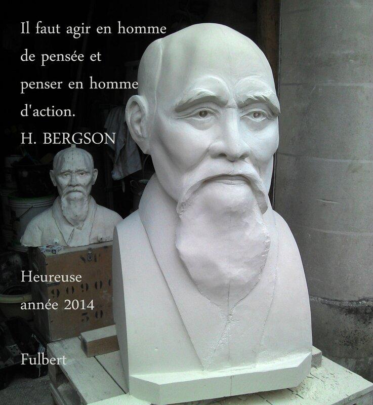 Fulbert DUBOIS sculpteur - Sculpture pierre - buste o sensei Morihei Ueshiba copie