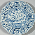 A group of four blue and white 'Kraak Porselein' dishes, Chongzhen period, circa 1643 1