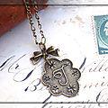Pendentif initial lettre alphabet prénom en bronze