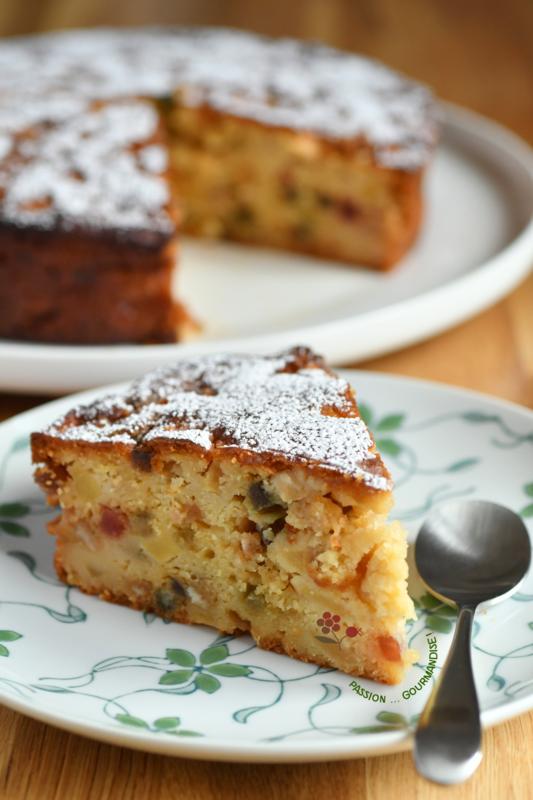 Gâteau chocolat blanc, Ricotta, pommes & fruits confits_4