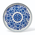 A soft-paste blue and white 'lotus' dish, 18th-19th century