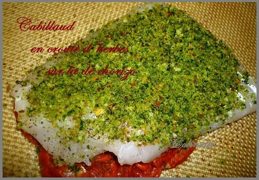 cabillaud sur lit de chorizo croute de chapelure aux herbes 02