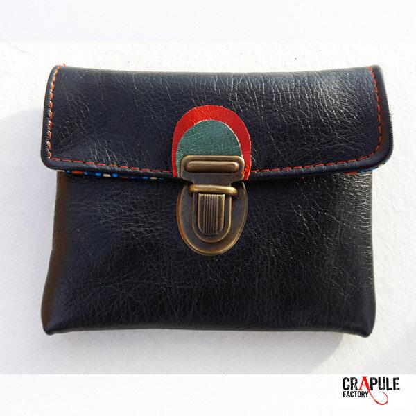 Porte monnaie vintage CUIR noir de créateur original