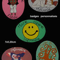 Badges en bois (anges,arbre de vie,smiley...)