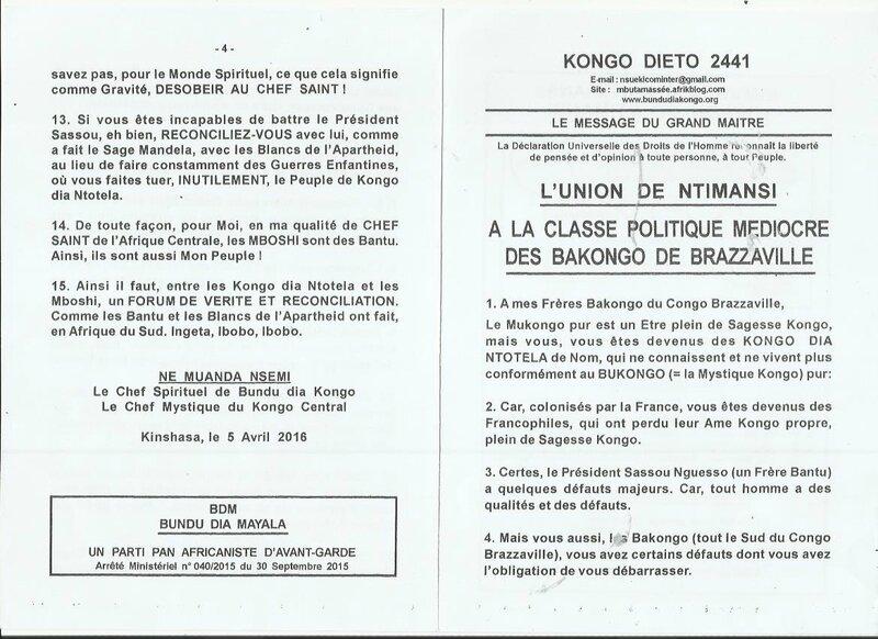 A LA CLASSE POLITIQUE MEDIOCRE DES BAKONGO DE BRAZZAVILLE a