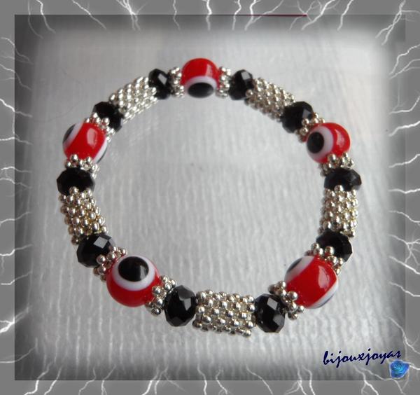 Bracelet Totem Perle Oeil Rouge Et Noir Et Blanc Perles Noires Crystal Facettées Métal Argenté Elastique