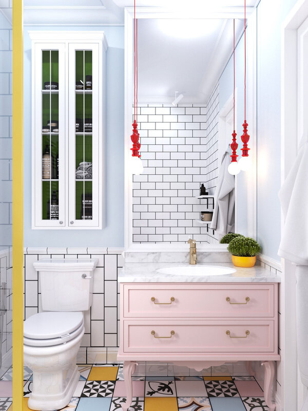 Pastel-and-bright-coloured-bathroom-pastel-pink-chest-white-porcelain-fixtures-multi-pattern-tiling
