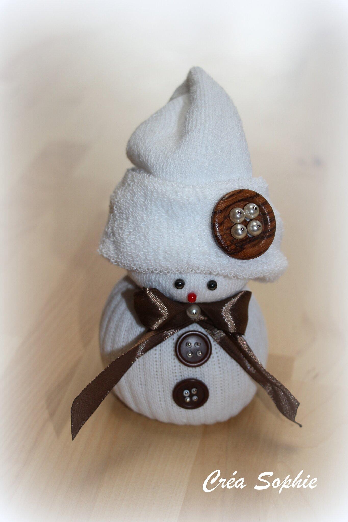 bonhomme de neige chaussette - créa sophie