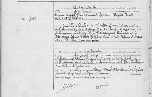 décès 10 décembre 1943 à Brest