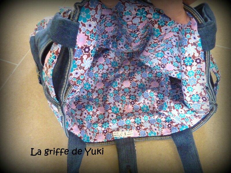 364 - Sac en jean - tissu fleuri rose (4)