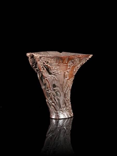 A_finely_carved__Ode_to_the_Red_Cliff__rhinoceros_horn_libation_cup__Late_Ming_early_Qing_dynasty