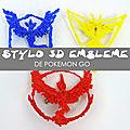 Stylo 3d emblème pokémon go - schéma gratuit