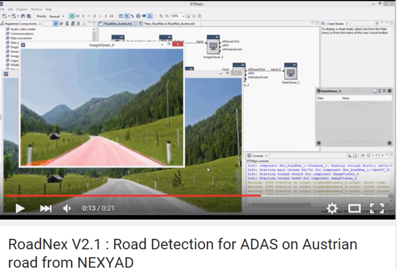 NEXYAD Adas Road detection on countryside road with RoadNex