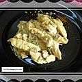 Aiguillettes de poulet aux champignons sauce crème fraîche et curcuma