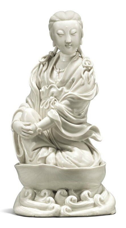 A 'Dehua' Figure of a Seated Guanyin, Qing Dynasty, late 17th century-early 18th century