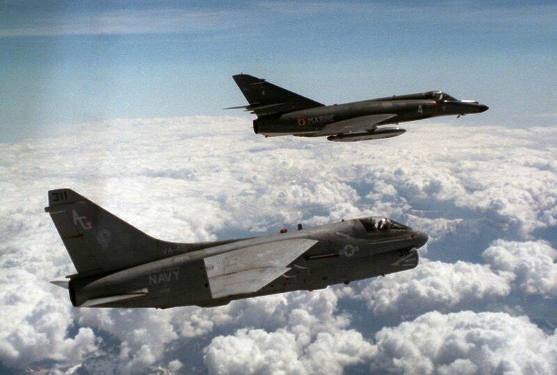 A-7E_VA-46_and_Super_Etendard_in_flight_1988_JPEG