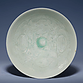 A carved Qingbai-glazed bowl, Song dynasty (960-1279)
