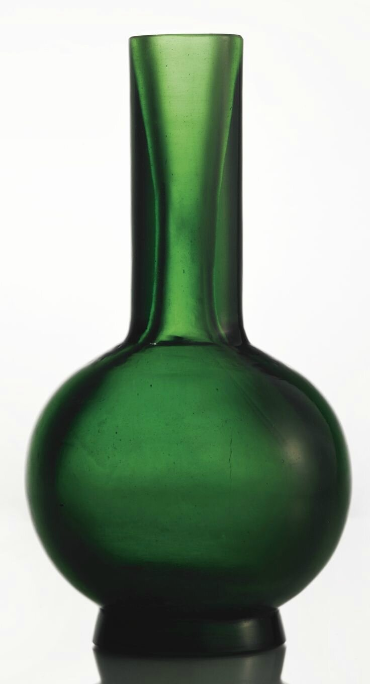 A transparent green glass bottle vase, Jiaqing mark and period