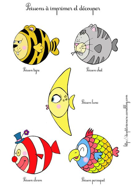 Poissons rigolos imprimer des p 39 tits riens - Dessin poisson d avril rigolo ...