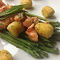 Petites asperges, saumon et polenta, beurre noisette à l'estragon