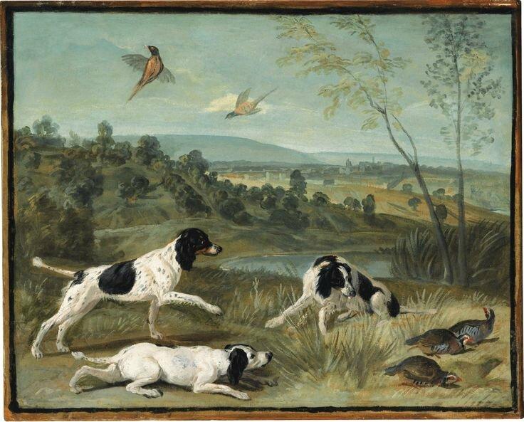 François Desportes (Champigneulle 1661 - 1743 Paris), Bonne, Nonne et Ponne, chiennes de la meute de Louis XIV