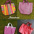 Ma série de sacs en toile enduite, sacs apéro pour les maîtresses et atsem de mes filles!