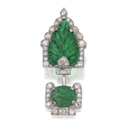 Platinum__Carved_Emerald_and_Diamond_Jabot__Cartier__France__Circa_1925