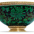 The william beckford's heraldic green dahlia bowl. a george iii silver-gilt mounted chinese porcelain bowl