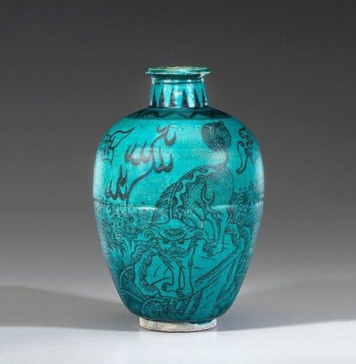 A Turquoise Glazed Tapering Baluster Vase